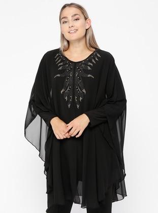 Şifon Detaylı Taşlı Tunik - Siyah - Metex Ürün Resmi