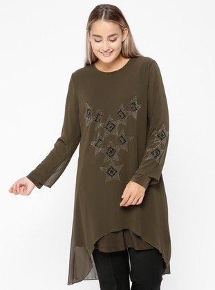 Khaki - Crew neck - Plus Size Tunic