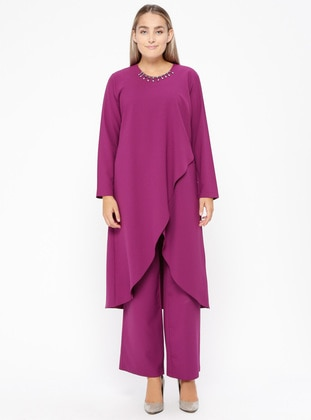 Fuchsia - Crew neck - Unlined - Plus Size Suit