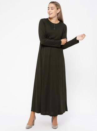 Düğme Detaylı Elbise - Haki - Metex Ürün Resmi