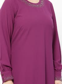 Fuchsia - Crew neck - Unlined - Plus Size Suit