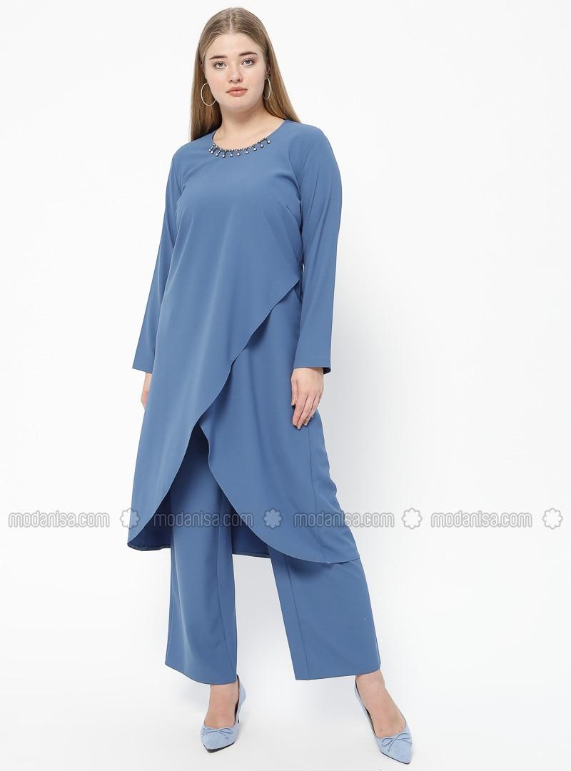 Turquoise - Crew neck - Unlined - Plus Size Suit