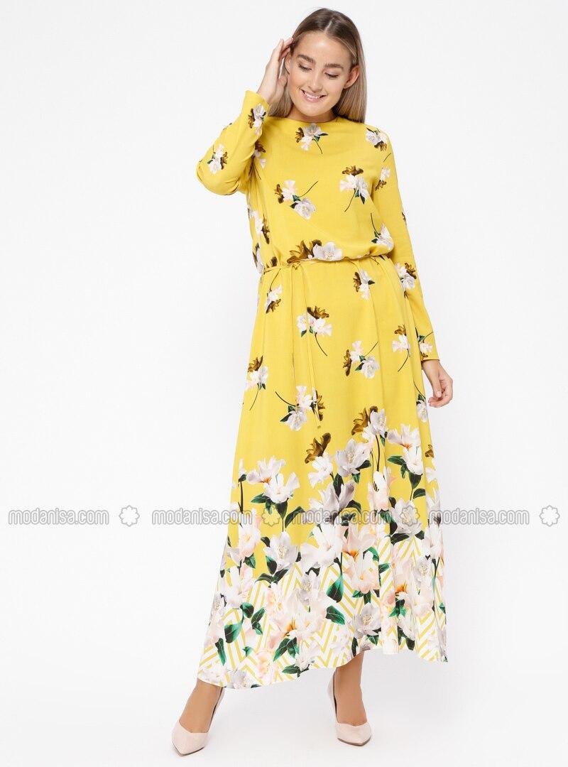 5820b19928c Yellow - Floral - Multi - Unlined - Crew neck - Plus Size Dress. Fotoğrafı  büyütmek için tıklayın