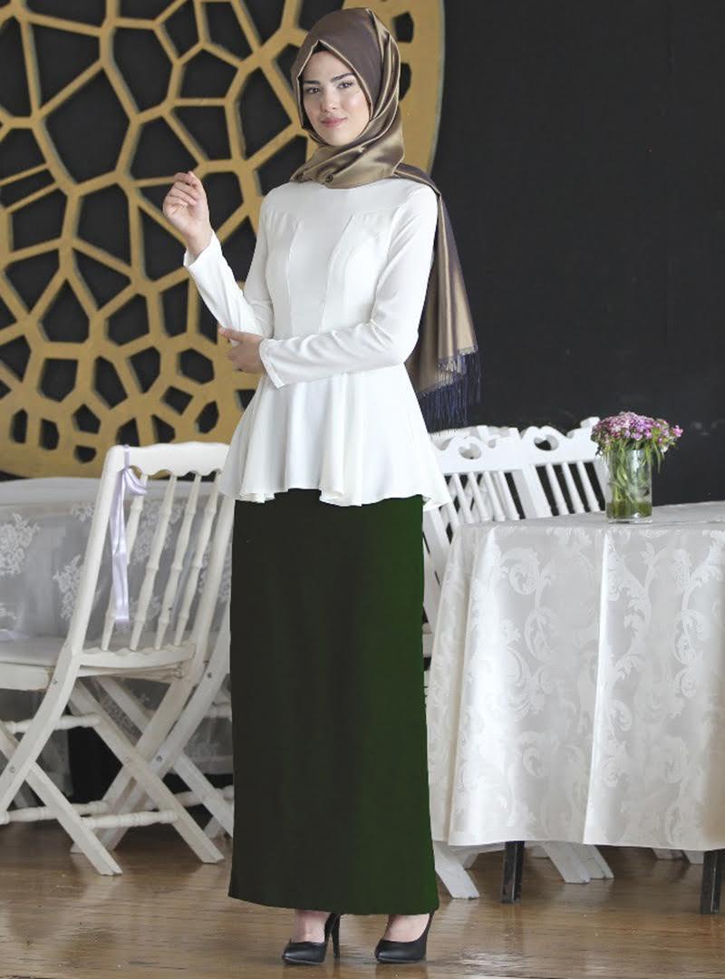 Tesettür Etek Nurkombin Zümrüt Yeşili Kadın 36
