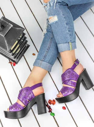 Awon Topuklu Ayakkabı - Mor