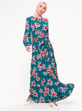 Petrol - Floral - Crew neck - Unlined - Viscose - Dresses