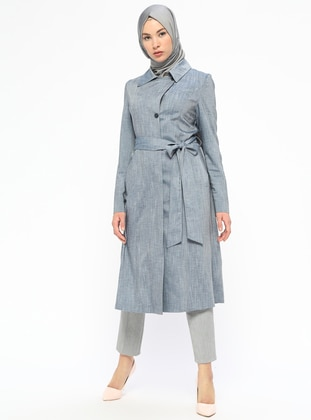 Blue - Unlined - Point Collar - Coat