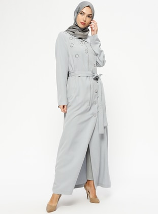 Gray - Unlined - Point Collar - Topcoat
