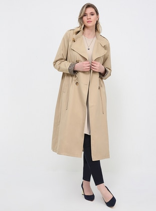 Beige - Fully Lined - Shawl Collar - Plus Size Trench coat - Alia