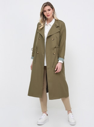 Khaki - Fully Lined - Shawl Collar - Plus Size Trench coat - Alia