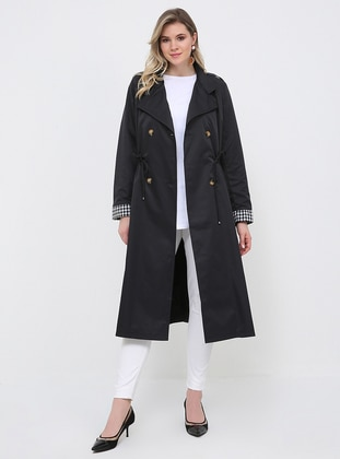 Black - Fully Lined - Shawl Collar - Plus Size Trench coat - Alia