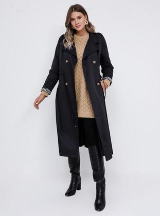 Black - Fully Lined - Shawl Collar - Plus Size Trench coat - Alia