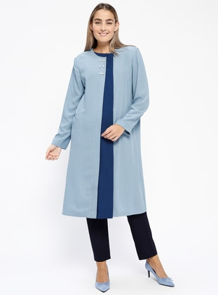 Blue - Navy Blue - Indigo - Unlined - Plus Size Overcoat - Tekbir
