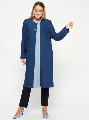Blue - Unlined - Plus Size Overcoat - Tekbir