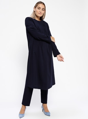 Navy Blue - Unlined - Plus Size Overcoat