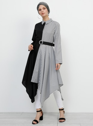 Black - Stripe - Crew neck - Cotton - Tunic - Refka