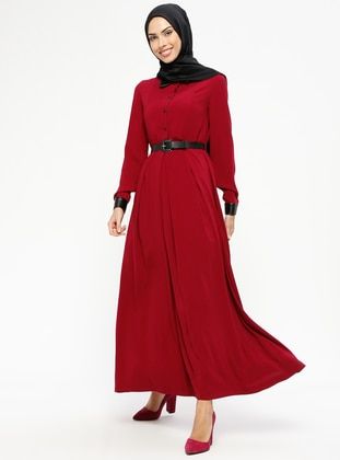 Maroon - Point Collar - Fully Lined - Dresses