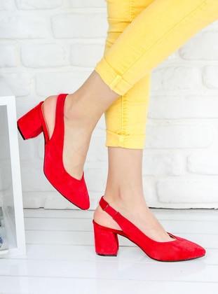 Awon Topuklu Ayakkabı - Kırmızı Süet
