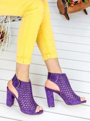 Awon Topuklu Ayakkabı - Mor Süet