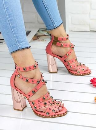 Awon Topuklu Ayakkabı - Pudra Platin
