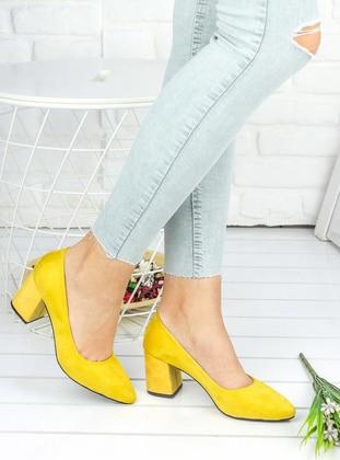 Awon Topuklu Ayakkabı - Sarı Süet