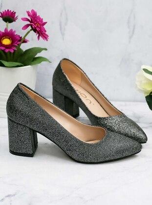 Awon Topuklu Ayakkabı - Siyah Simli