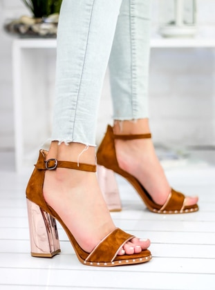 Awon Topuklu Ayakkabı - Taba Süet