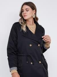 Black - Fully Lined - Shawl Collar - Plus Size Trench coat