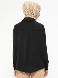Black - Point Collar - Blouses