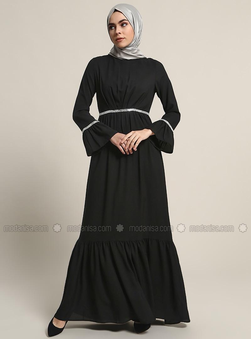 29078a2ef0 Black Fully Lined Crew neck Muslim Evening Dress Refka
