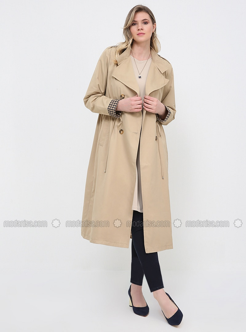 Beige - Fully Lined - Shawl Collar - Plus Size Trench coat