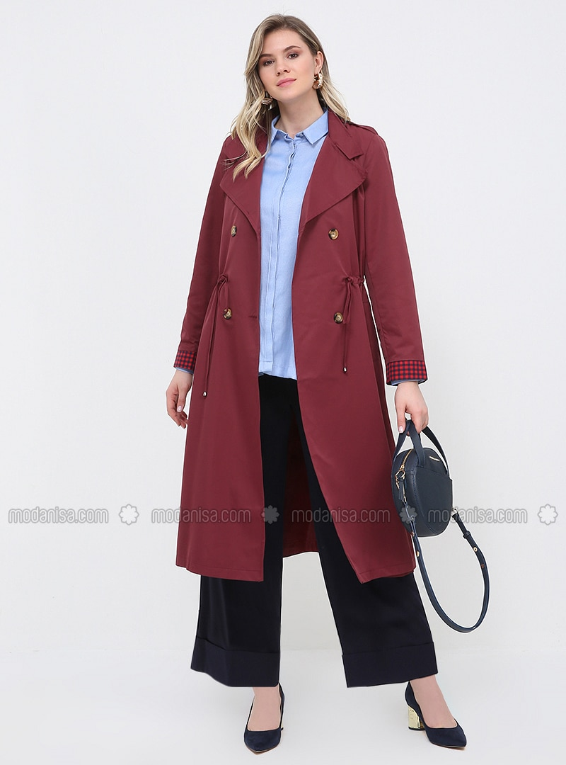 Maroon - Fully Lined - Shawl Collar - Plus Size Trench coat