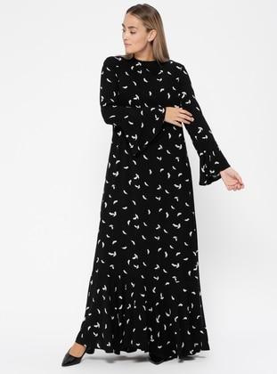 Black – Multi – Fully Lined – Crew Neck – Plus Size Dress – Melisita