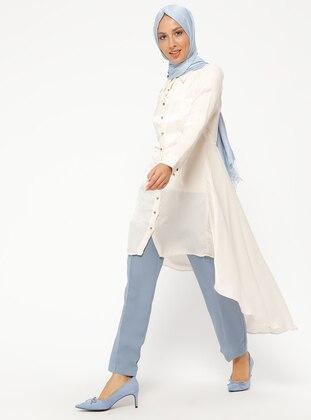White - Ecru - Cream - Point Collar - Tunic