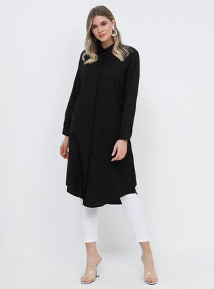 Black - Point Collar - Cotton - Plus Size Tunic - Alia