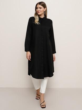Black - Point Collar - Cotton - Plus Size Tunic - Alia