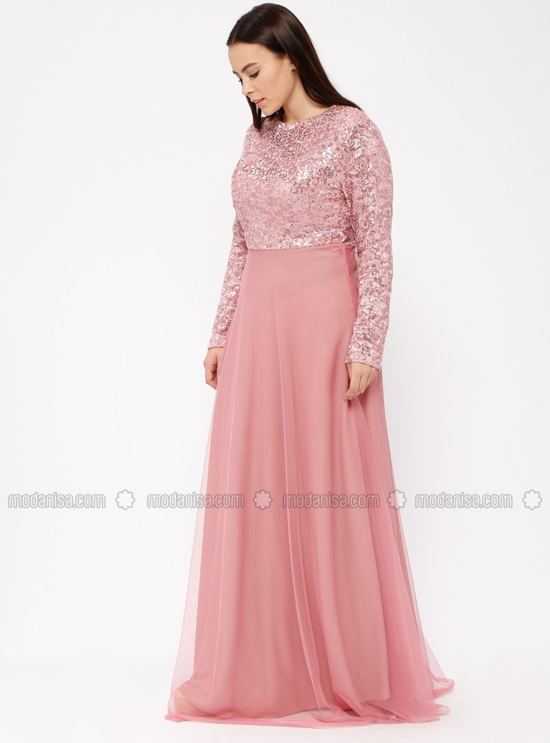 Dusty Rose Fully Lined Crew Neck Muslim Plus Size Evening Dress