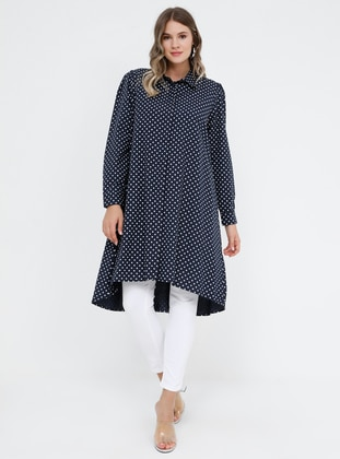Navy Blue - Polka Dot - Point Collar - Cotton - Plus Size Tunic - Alia