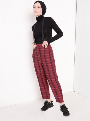 Maroon - Plaid - Pants