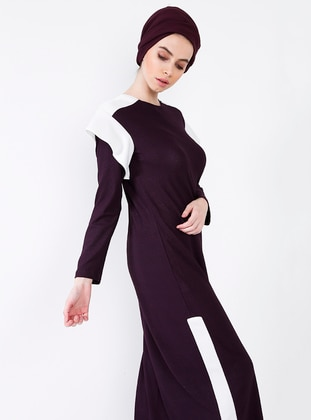 Plum - Crew neck - Dresses
