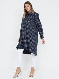 Navy Blue - Polka Dot - Point Collar - Cotton - Plus Size Tunic