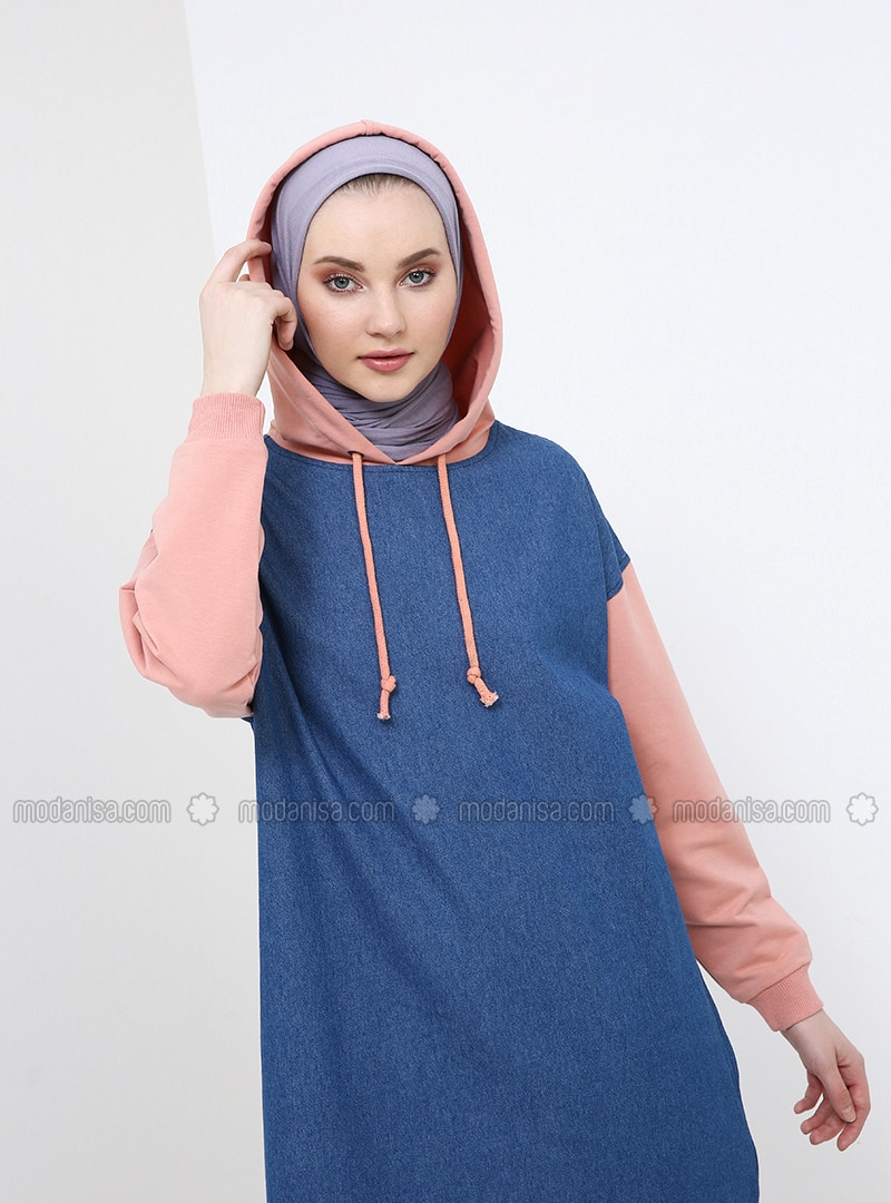 Blue - Coral - Cotton - Denim - Tunic
