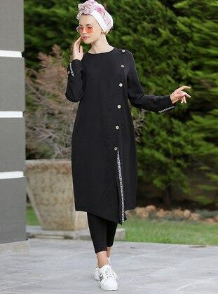 Çapraz Düğmeli Şeritli Tunik - Siyah - Myzen Ürün Resmi