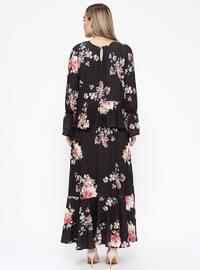 Black - Powder - Multi - Fully Lined - Crew neck - Plus Size Dress
