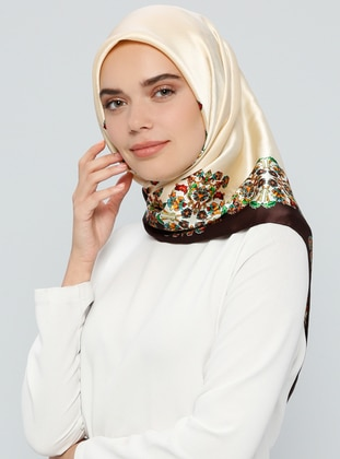 Brown – Beige – Printed – %100 Silk – Scarf – Tekbir Esarp