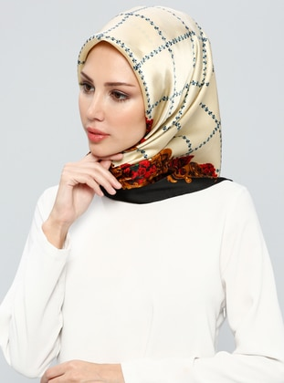 Black – Cream – Printed – %100 Silk – Scarf – Tekbir Esarp