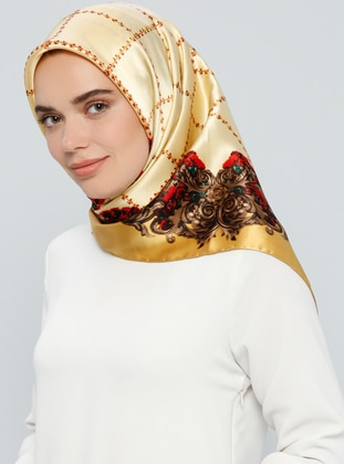 Golden Tone – Printed – %100 Silk – Scarf – Tekbir Esarp