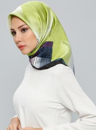 Green - Black - Printed - %100 Silk - Scarf