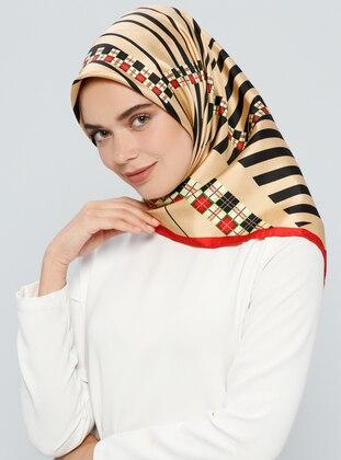Beige – Printed – %100 Silk – Scarf – Tekbir Esarp