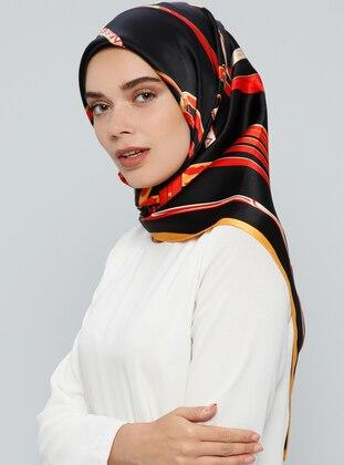 Black – Yellow – Printed – %100 Silk – Scarf – Tekbir Esarp
